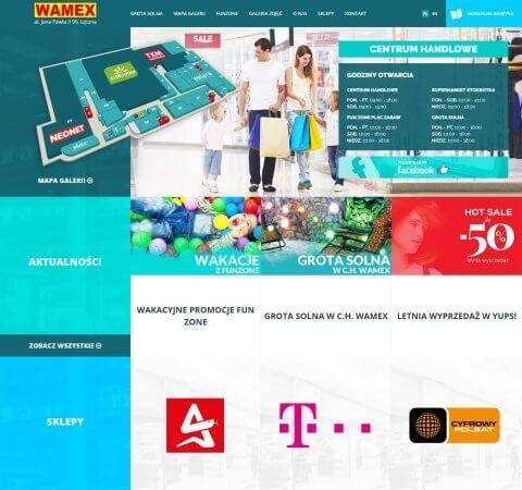 projekt strony www niebieski